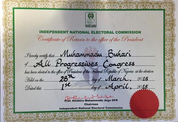 Buhari's Certificate